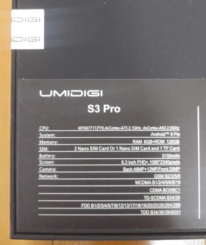 UMIDGI S3 PROの箱の裏側
