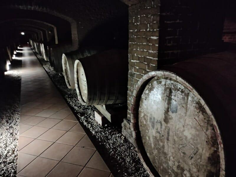 牛久シャトーの地下の醸造室